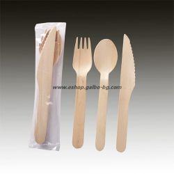 Комплект дървени прибори - вилица, лъжица, нож 50 бр