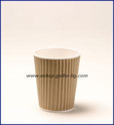 Картонена чаша 8 oz (200 мл) RIPPLE крафт, тристенна, 500 бр.
