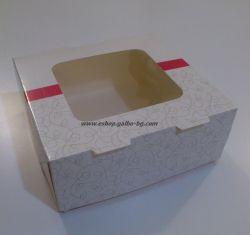Картонена кутия за бонбони с прозорец 13*13*5 см 25 бр.