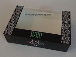 """Картонена кутия малка """"Sushi"""" 16,5*11,5*4 см  600 бр"""