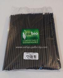 Биоразградими PLA сламки, прави  25 см / 8 мм - черни 150 бр.