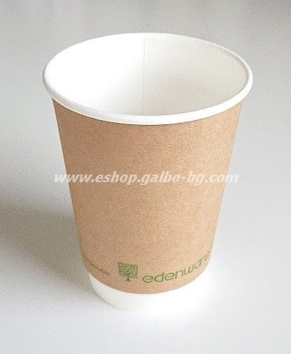 Двустенна Крафт картонена чаша 14 oz (350 мл) Биоразградима  500 бр