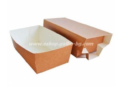 Картонена кутия за храна от две части малка  15,5*8*5 см  100 бр