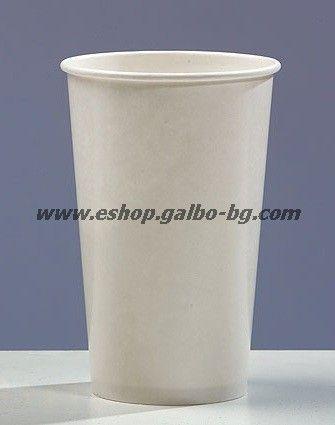 Бяла картонена чаша 16 oz (400 мл), 90 мм, за студени напитки  50/1000 бр