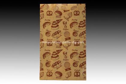 Хартиен плик за закуски 12/5/21 см кафяв маслоустойчив 1000 бр с печат ПЕКАРНА