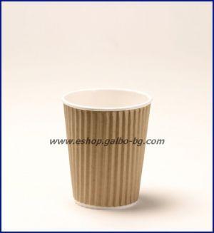 Картонена чаша 8 oz (200 мл) RIPPLE крафт, 25 бр.