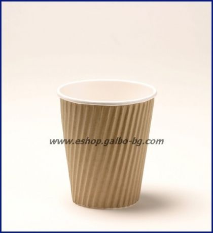 Картонена чаша 12 oz (300 мл) RIPPLE крафт, 500 бр