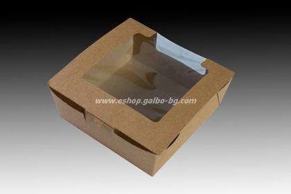 Картонена кутия с прозорец КАФЯВА 13х13х5,5 см, 200 бр.
