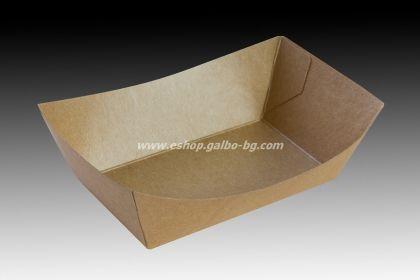 Картонена чиния дълбока правоъгълна малка КАФЯВА 12/7/5 см 100 бр.