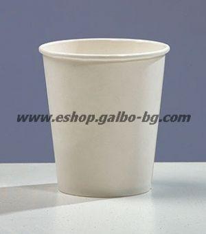 Бяла картонена чаша 8 oz (200 мл, 300 гр/м2)  100 бр