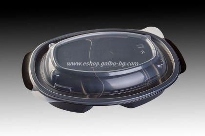 РР Черна кутия за храна 900 мл с две деления и капак, 50 бр.