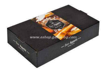"""Картонена кутия за храна """"Bon Appetit"""" 24*13*5,5 см  25 бр"""