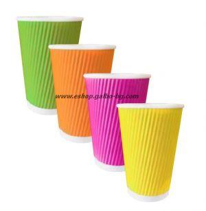 Картонена чаша 16 oz (400 мл) RAINBOW RIPPLE, 25 бр