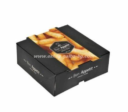 """Картонена кутия за храна """"Bon Apetit"""" 13*13*5 см  25 бр"""