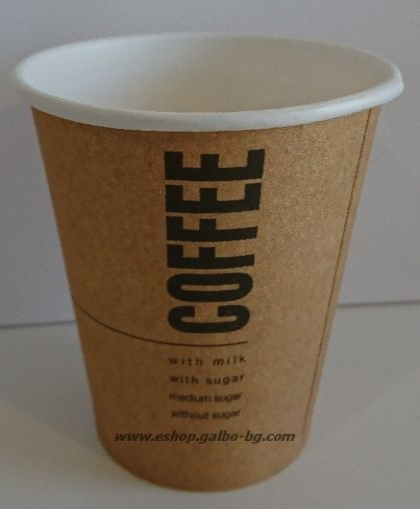 Картонена чаша 8 oz (200 мл) KRAFT COFFEE  1050 бр