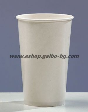 Бяла картонена чаша 16 oz (400 мл)  320 гр/м2 50 бр
