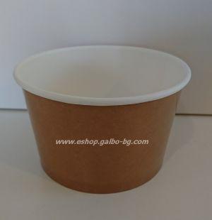 Картонена купа 400 мл за супа с капак КАФЯВА ,  500 бр