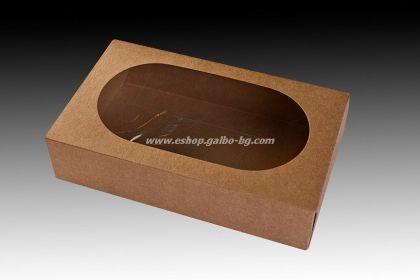 Картонена кутия 1500 мл с прозорец КАФЯВА 21х13х5,5 см, 450 бр.
