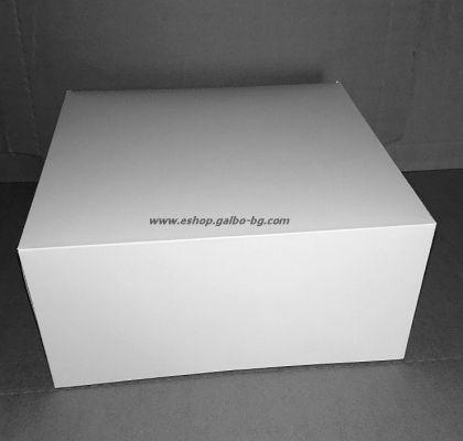 Картонена кутия за 18 парчета торта БЯЛА    28*28*13,5 см 25 бр.