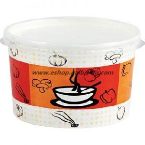 Картонена купа 400 мл за супа с капак ORANGE,  500 бр
