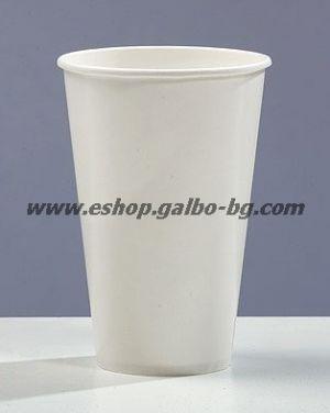 Бяла картонена чаша 12 oz за топли напитки (300 мл, 300 гр/м2)  100 бр