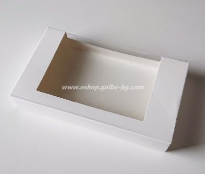 Картонена кутия с прозорец, бяла 22*13*3,5 см  25 бр
