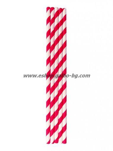 Хартиени червено/бели сламки  20 см / 6 мм - 250 бр.