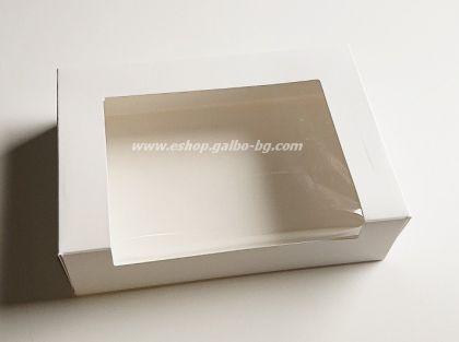 Картонена кутия БЯЛА малка с прозорец   16,5*11,5*4 см  25 бр