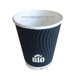 Биоразградима двустенна черна релефна картонена чаша 14 oz (350 мл) BLACK BIO TREE  25/500 бр