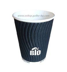Биоразградима двустенна черна релефна картонена чаша 8 oz (200 мл) BLACK BIO TREE  25/500 бр