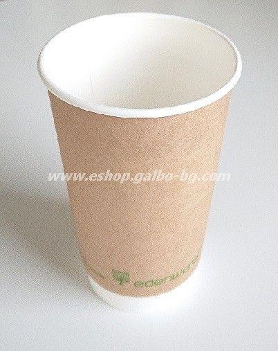 Двустенна Крафт картонена чаша 16 oz (400 мл) Биоразградима 25/500 бр
