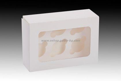 Бяла картонена кутия за 6 мини мъфина с прозорец и сепаратор 14*20*6.3 см 25 бр