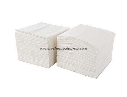 Бели салфетки 33 см, 500 бр в пакет/2000 бр в чувал