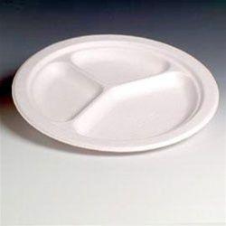 100% биоразградима картонена чиния кръгла 23 см с три деления  1000 бр В ПРОМОЦИЯ