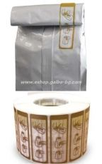 Прозрачен етикет със златен печат 60*20 мм на ролка от 2000 бр