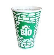 Биоразградима двустенна релефна картонена чаша 16 oz (400 мл) GREEN WALL  25/500 бр