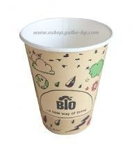 Картонена биоразградима чаша 14 oz (350 мл) BIO FUN  50/1000 бр